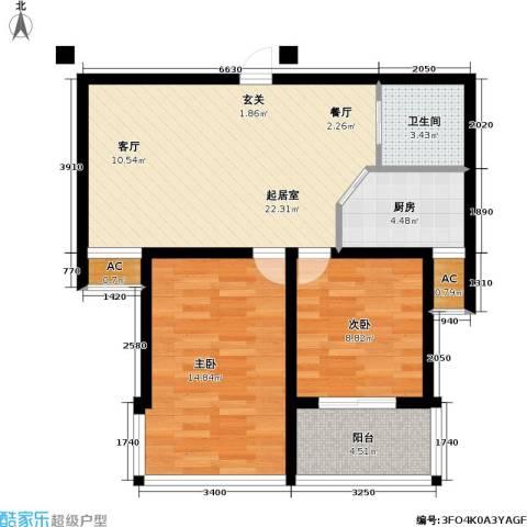 水岸人家2室0厅1卫1厨69.00㎡户型图