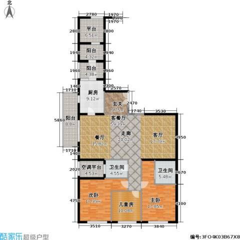 老西门新苑3室1厅2卫1厨160.00㎡户型图