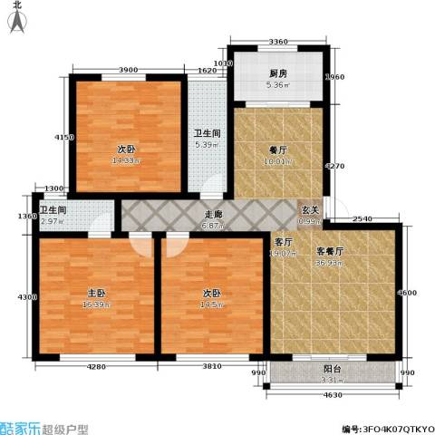 城市绿洲花园二期3室1厅2卫1厨114.00㎡户型图