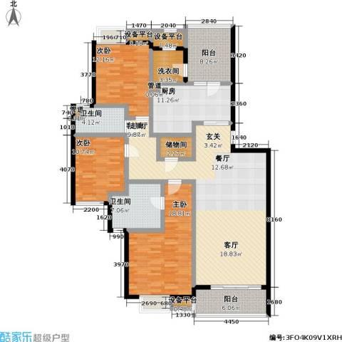西郊林茵湖畔3室1厅2卫1厨170.00㎡户型图