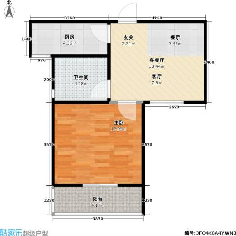 人民家园1室1厅1卫1厨58.00㎡户型图