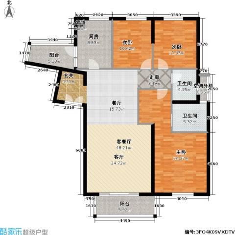 老西门新苑3室1厅2卫1厨140.00㎡户型图