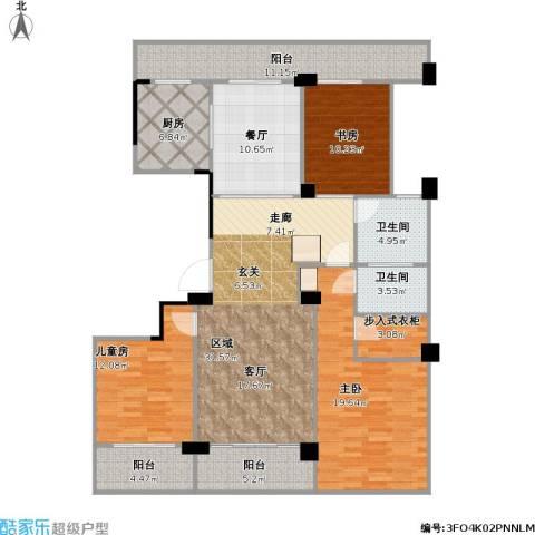 余姚绿城明园3室1厅2卫1厨169.00㎡户型图
