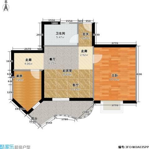 静安苏堤1室0厅1卫1厨70.00㎡户型图
