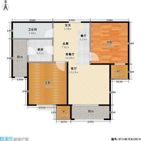 山海听涛2室1厅1卫1厨92.00㎡户型图