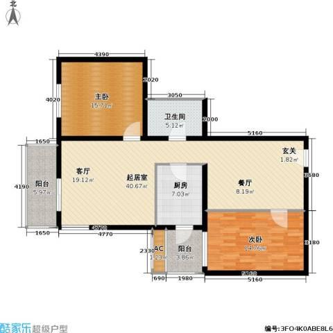 信德新时代(一期尾盘)2室0厅1卫1厨106.00㎡户型图