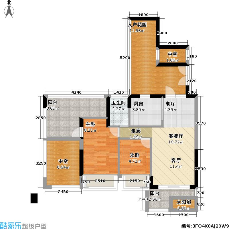 厚德品园户型2室1厅1卫1厨