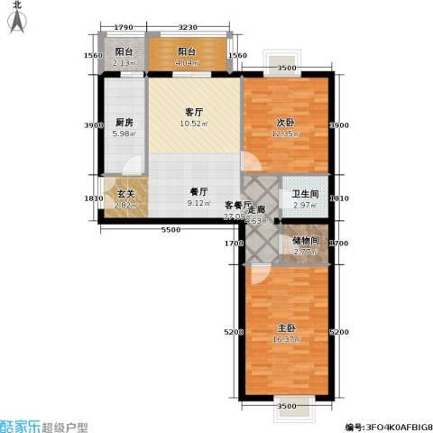 依莲轩二期2室1厅1卫1厨104.00㎡户型图
