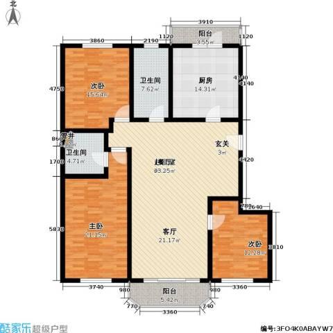 富莱茵花园3室0厅2卫1厨148.00㎡户型图