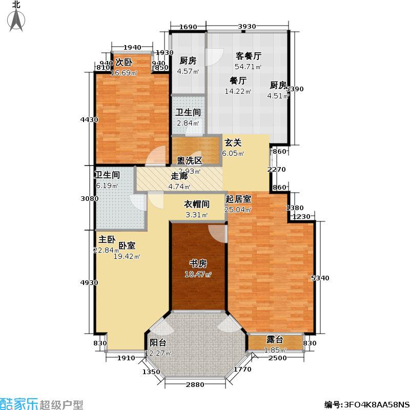 香溪度(熙湖二期)2号楼C2三室三厅二卫户型