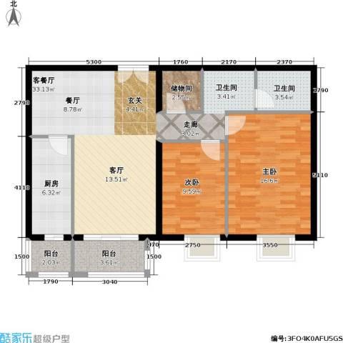 依莲轩二期2室1厅1卫1厨111.00㎡户型图