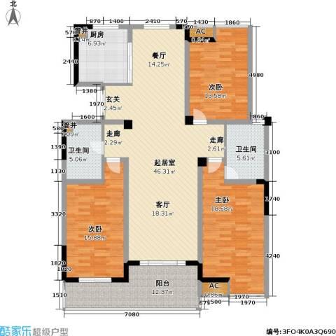 金都名苑3室0厅2卫1厨144.00㎡户型图