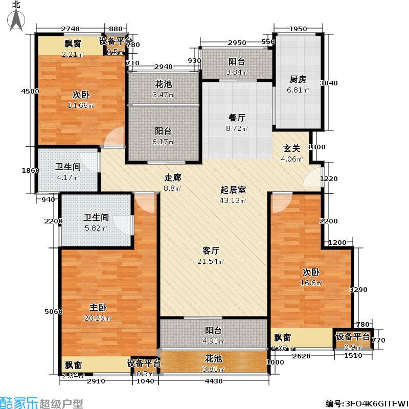 美联奥林匹克花园147.85㎡B5户型3室2厅2卫