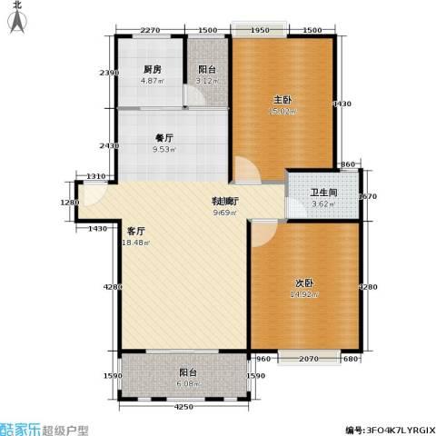 浔城湖锦2室1厅1卫1厨88.00㎡户型图