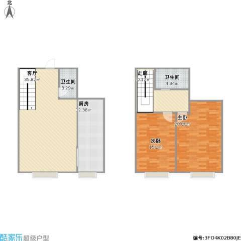 欧美世纪花园2室1厅2卫1厨135.00㎡户型图
