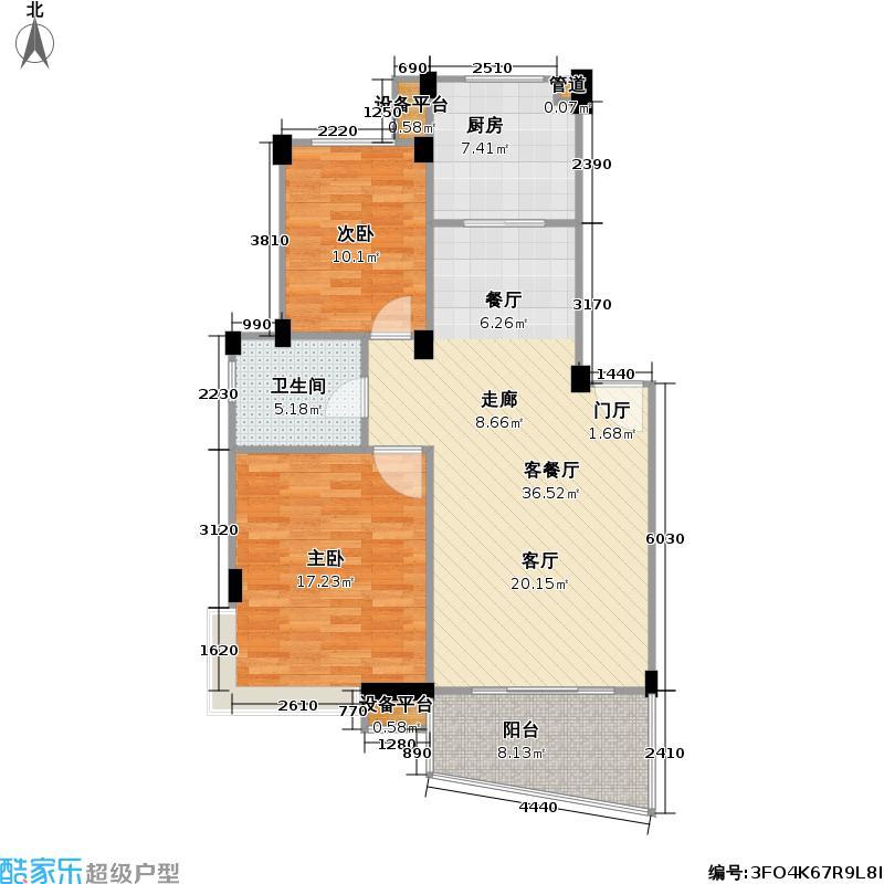 水印桃源90.40㎡水印桃源户型图二房二厅一卫(8/10张)户型10室