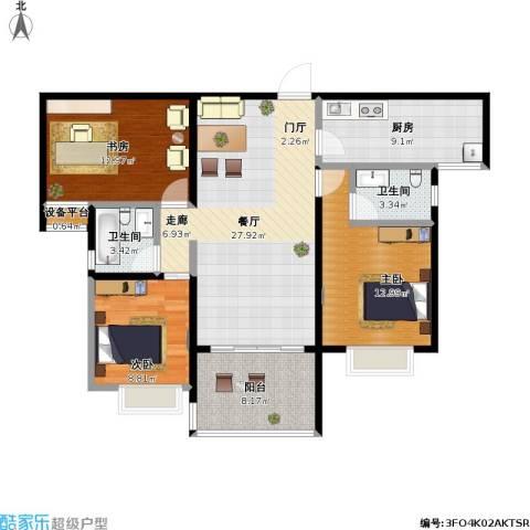 合景领峰3室1厅2卫1厨124.00㎡户型图
