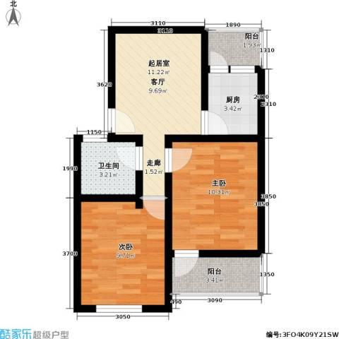 小沪春秋2室0厅1卫1厨68.00㎡户型图