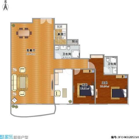 凯茵新城A16区天誉3室1厅2卫1厨180.00㎡户型图