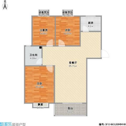 京海铭筑3室1厅1卫1厨116.00㎡户型图