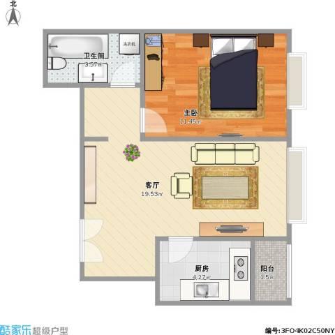 合生珠江罗马嘉园1室1厅1卫1厨55.00㎡户型图