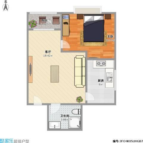 合生珠江罗马嘉园1室1厅1卫1厨56.00㎡户型图