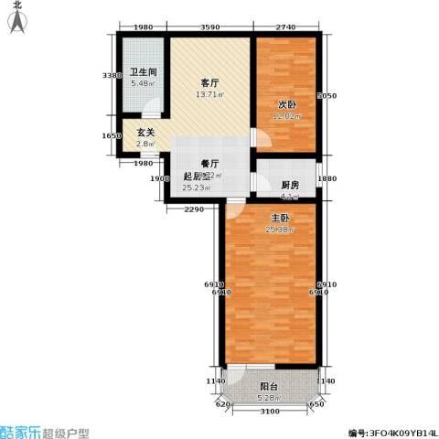 小沪春秋2室0厅1卫1厨77.49㎡户型图