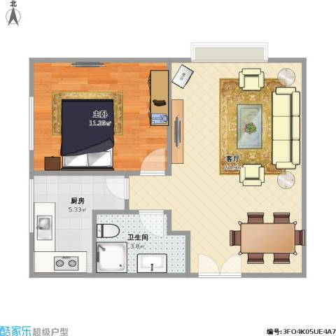 合生珠江罗马嘉园1室1厅1卫1厨57.00㎡户型图