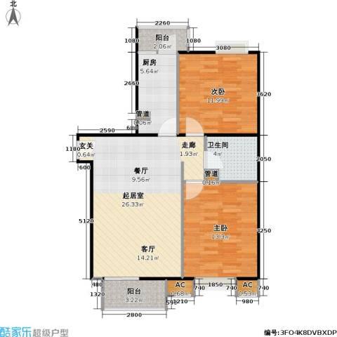 中景理想家2室0厅1卫1厨88.00㎡户型图