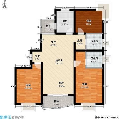 大上海城市花园3室0厅2卫1厨136.00㎡户型图