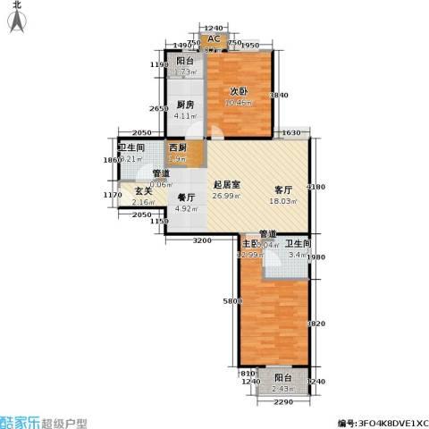 中景理想家2室0厅2卫1厨89.00㎡户型图