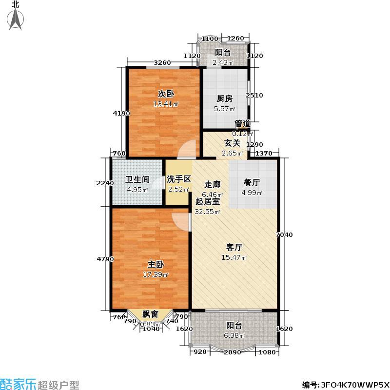 舒城苑88.83㎡房型: 二房; 面积段: 88.83 -97.58 平方米; 户型