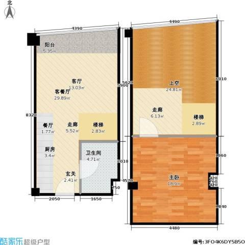亚辰海派广场1室1厅1卫0厨83.00㎡户型图