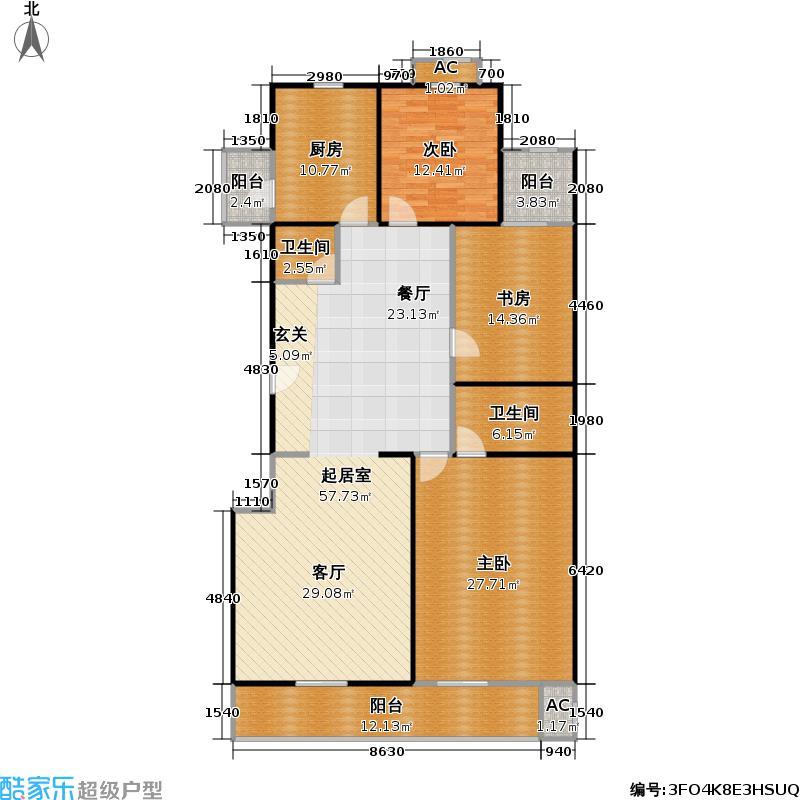 宝钞苑161.84㎡两室两厅两卫户型