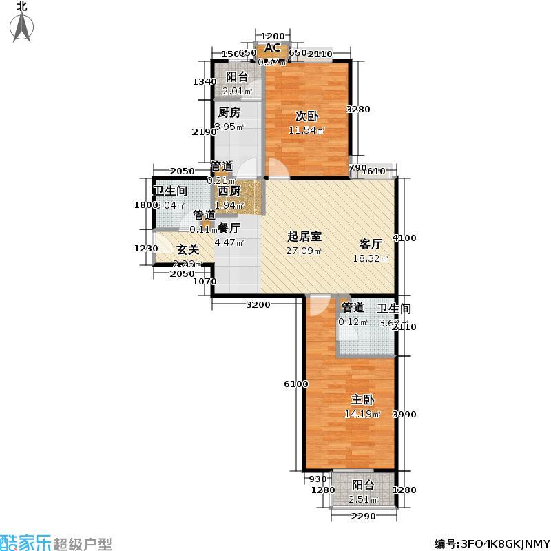 中景理想家A4两室两厅两卫,建面89.47,套内73.05户型