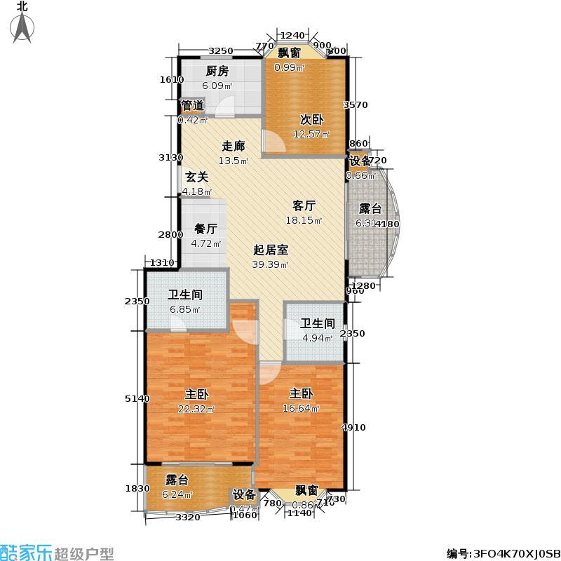 汇峰花苑131.88㎡房型: 三房; 面积段: 131.88 -132.42 平方米; 户型