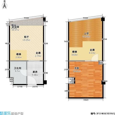 亚辰海派广场1室0厅1卫1厨80.00㎡户型图
