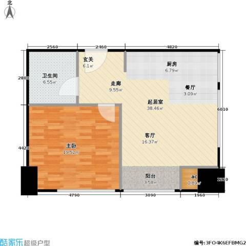 新湖印象江南二期1室0厅1卫0厨73.00㎡户型图