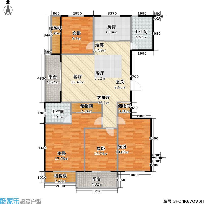 新湖印象江南二期167.04㎡四室二厅二卫户型