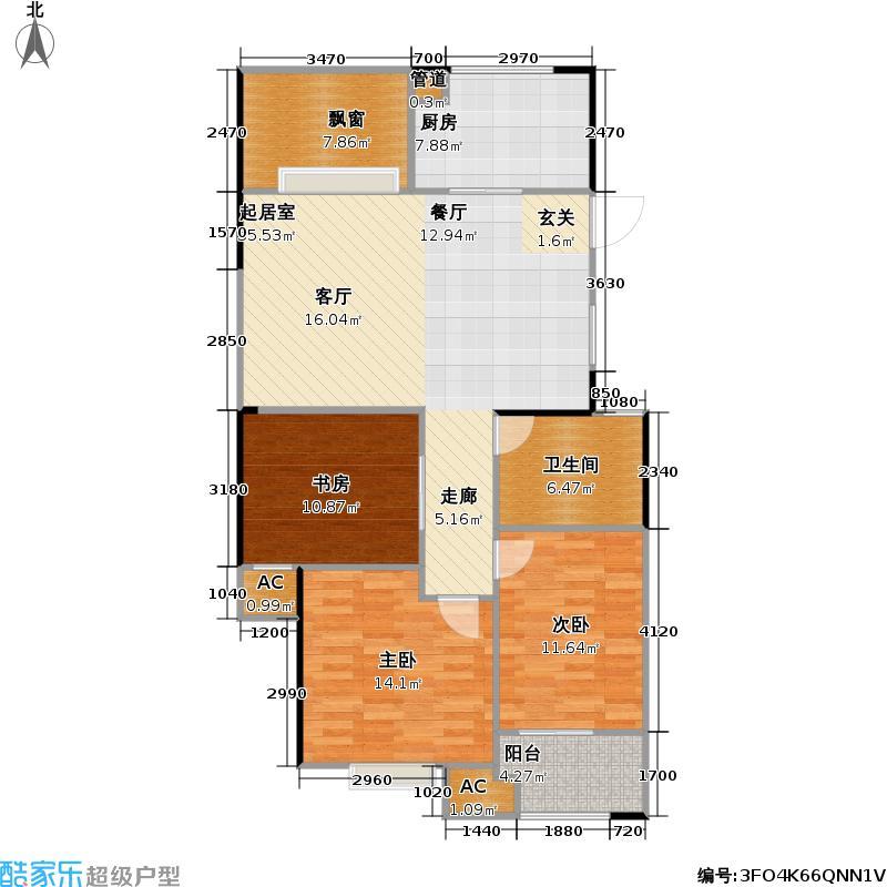 龙涛香榭丽舍111.00㎡D户型111㎡普罗旺斯户型3室2厅1卫
