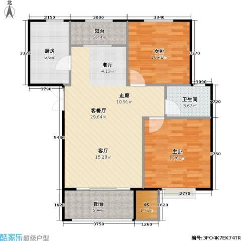 山海听涛2室1厅1卫1厨99.00㎡户型图