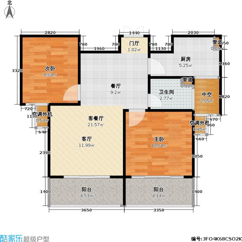 中天名园四期户型2室1厅1卫1厨