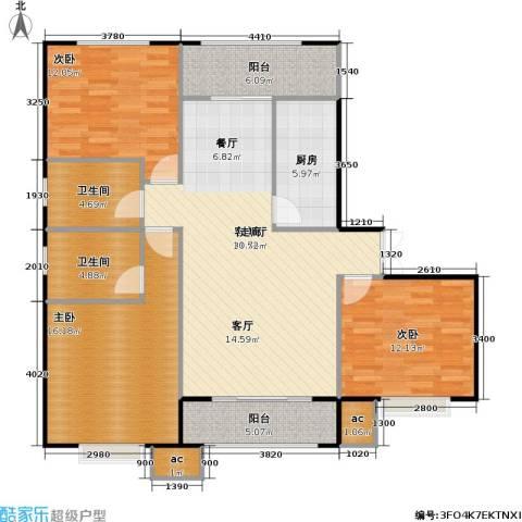 山海听涛3室1厅2卫1厨136.00㎡户型图