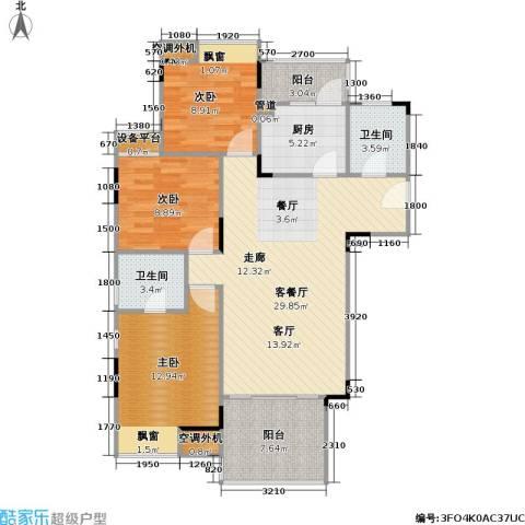 海兰云天假日风景3室1厅2卫1厨116.00㎡户型图