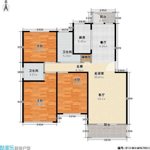 凌兆佳苑3室0厅2卫1厨102.00㎡户型图