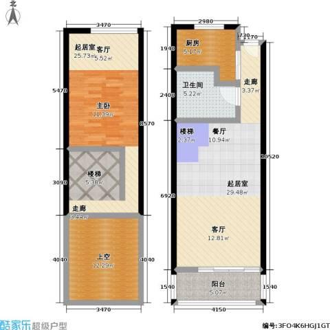 静安新格公寓1卫1厨82.96㎡户型图