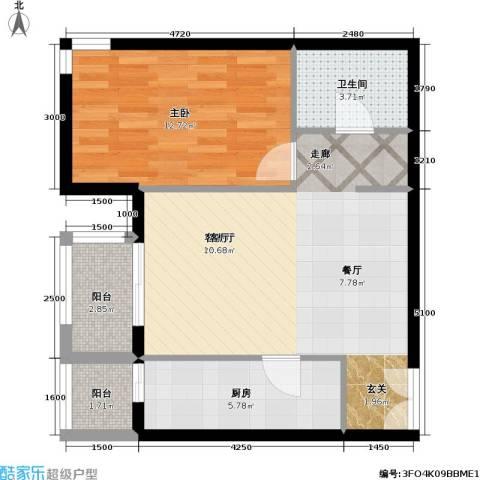 依莲轩二期1室1厅1卫1厨71.00㎡户型图