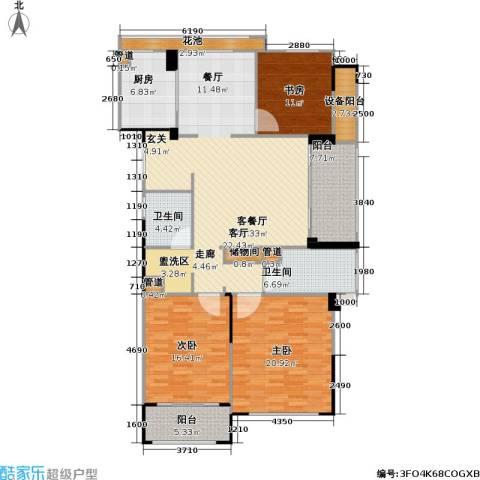 绿城・玉兰广场3室1厅2卫1厨146.00㎡户型图