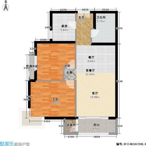 依莲轩二期2室1厅1卫1厨108.00㎡户型图