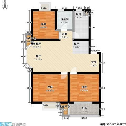 中浩森林湾3室1厅1卫1厨87.63㎡户型图